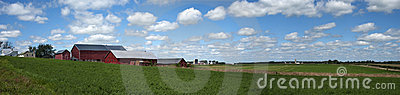Old Dairy Farm Barn Sky Clouds Panorama Banner