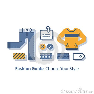 Wardrobe set, fashion guide, complementary clothing, casual wear, color choice, good outfit combination