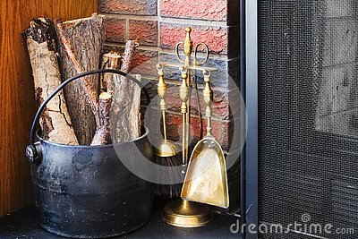 Fireplace decor arranged in a cozy, rustic way