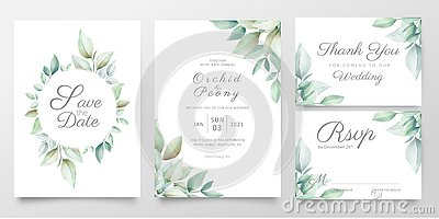 Floral wedding invitation card template set of realistic watercolor leaves. Elegant greenery save the date, invite, thank you,