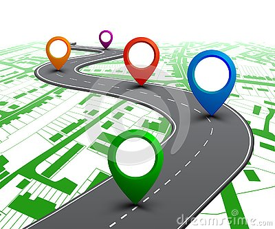 Road with GPS navigation on city map. Car road, street, highway roadmap infographics – vector