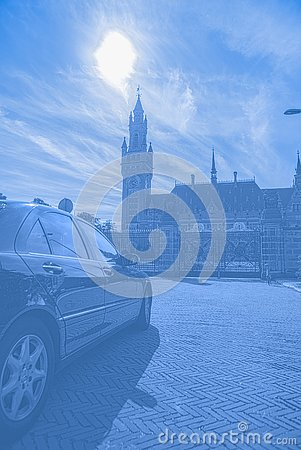A diplomatic car infront of the peace palace entrance gate business diplomacy