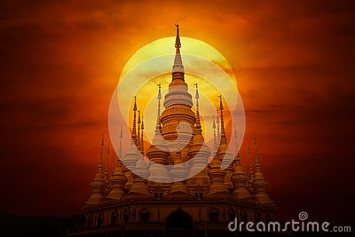 Buddhist architectural and sunset, mystery