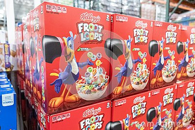 Packages of Kellogg`s Brand Froot Loops  cereal for sale