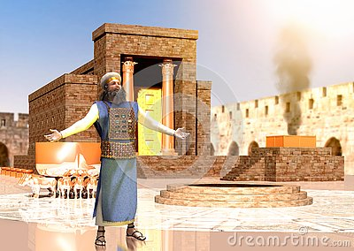 Biblical Jewish Priest Standing In Front Of King Solomon`s Temple