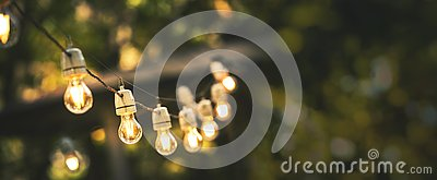 Outdoor party string lights hanging in backyard on green bokeh background