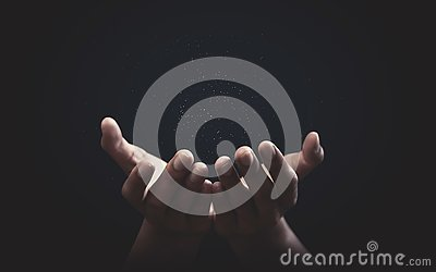 Praying hands with faith in religion and belief in God on blessing background. Power of hope or love and devotion