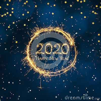 Beautiful Square Greeting card Happy New Year 2020