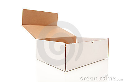Blank White Carboard Box Opened Isolated