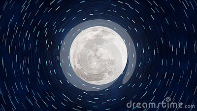 Bright Full Moon and Star Trails in Dark Blue Night Sky