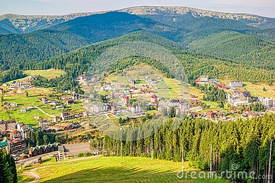 Scenic summer view of the resort Bukovel from the height, Carpathian Mountains, Ukraine