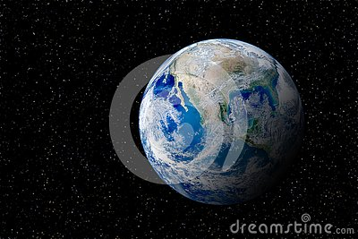 Blue planet earth globe view from space in night sky.