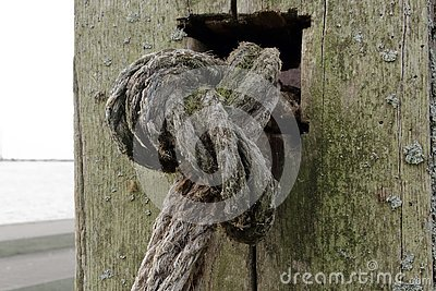 Old textured rope knot on aged wooden post background