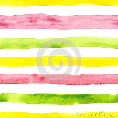 Bright cute watercolor seamless pattern with pink, yellow and green horizontal strips and lines on white background. Striped