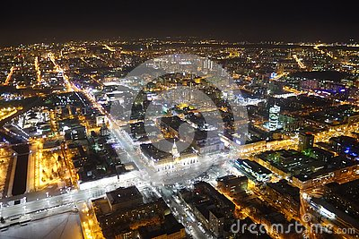 Night view of Ekaterinburg from a bird`s eye view within the historical center of the beautiful Ural city