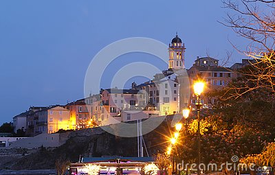 Night view to Bastia old city center . Bastia is second biggest town on Corsica, France, Europe.