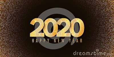 Abstract banner for Happy new year 2020. Fluid design. Halftone glowing pattern. Gold glitter numbers. Festive cover. Greeting