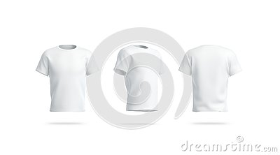Blank white clean tshirt mockup, front, side and back view