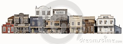 Front wide view of an old rustic antique western town with various business on an Isolated white background.