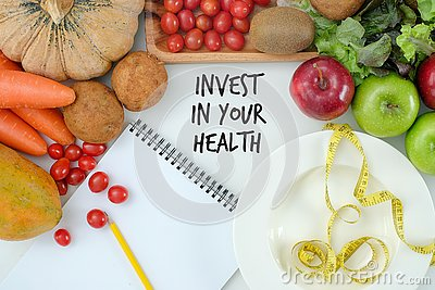 Invest in your health , Healthy lifestyle concept with diet and fitness , Get fit in  , fitness equipment and healthy food