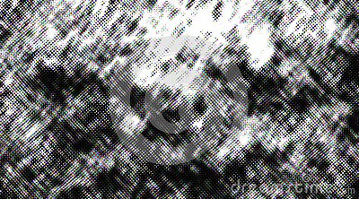 Distressed halftone grunge black and white scratches blurry shaded rough texture background.