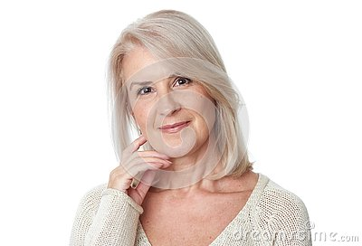 Beautiful 50 years old woman portrait isolated