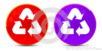 Recycle symbol icon glossy round buttons illustration
