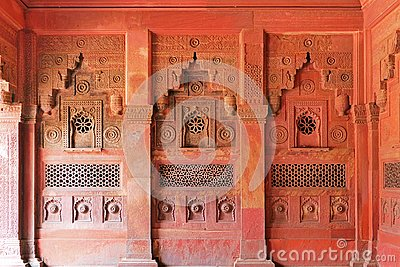 Scenic Architectural Details and Wall Decoration inside Agra Fort in Agra, Uttar Pradesh Region of India