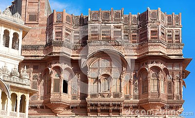 Exterior of palace in famous Mehrangarh Fort in Jodhpur, Rajasthan state, India