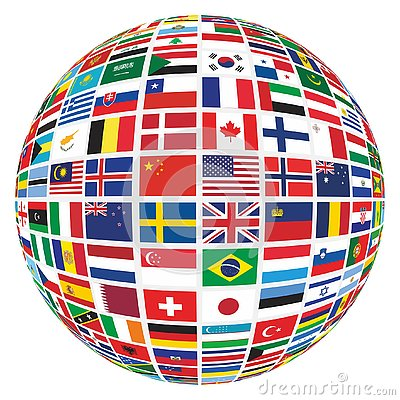 Different World Country Flags Globe