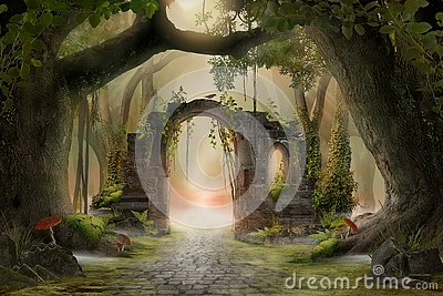 Archway in an enchanted fairy forest landscape, misty dark mood,