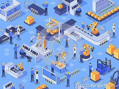 Isometric smart industrial factory. Automated production line, automation industry and factories engineer workers vector