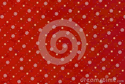 Christmas background of white snowflakes and golden stars on a red background. Design for christmas packaging. Vector