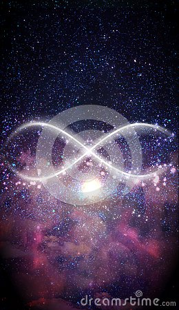 Neon light abstract infinity symbol, universe background, expansion