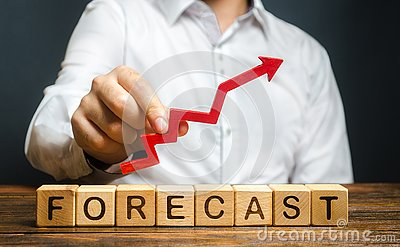 Man holds red arrow up over word Forecast. A budget surplus, prosperous economy or company. Prediction of profit growth, value