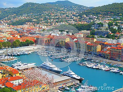 View of Nice, mediterranean resort, Cote d`Azur, France. Panoramic view of Nice, France.