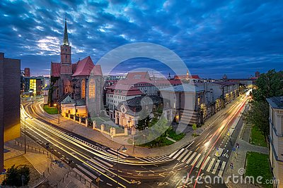 Wroclaw, Poland. Aerial cityscape at dusk with church