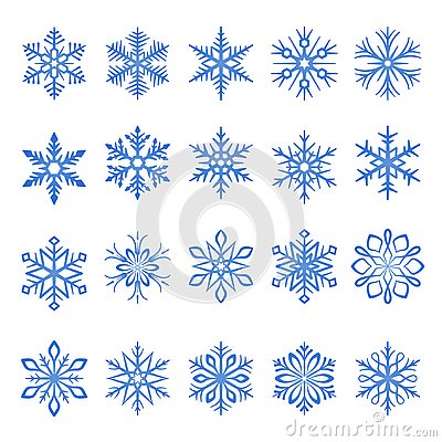 Snowflake blue line icons on white background