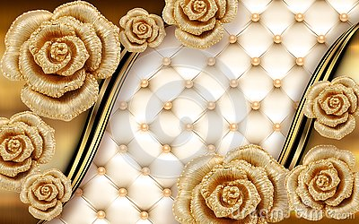 3d golden mural background with flowers , pearl , Jewelery , circles and butterfly . marble and capitone wallpaper