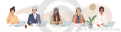 Call center, hotline flat vector illustrations. Smiling office workers with headsets cartoon characters. Customer