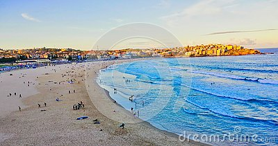 Late Afternoon Autumn Day at Yellow Sand Bondi Beach, Sydney, NSW, Australia