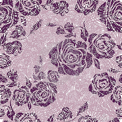 Vector Seamless grunge vintage flower rose pattern