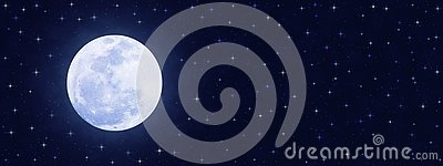 Shining Full Moon and Twinkle Stars in Dark Blue Night Sky Banner