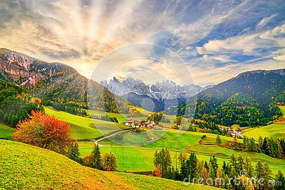 Colorful autumn scenery in Santa Maddalena village at sunrise. Dolomite Alps, South Tyrol, Italy