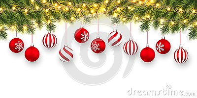 Festive Christmas or New Year Background. Christmas fir-tree branches with light garland and xmas red balls. Holiday`s Background