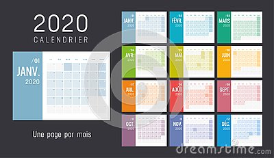 Year 2020 French monthly calendar
