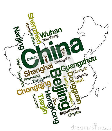 stock image of china map and cities