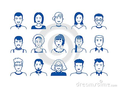 Avatar line icons. Hand drawn people cartoon faces, cute boys and girls teen persons, modern vector male and female