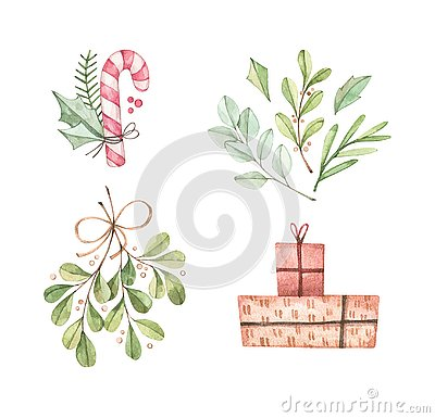 Christmas illustrations with eucalyptus, fir branch, candy, mistletoe and gift boxes - Watercolor illustration. Happy new year. Wi