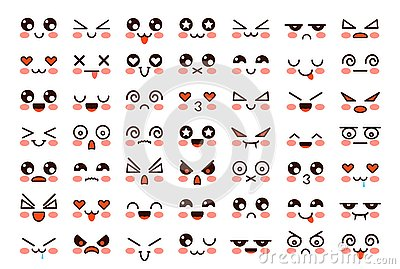 Kawaii faces. Cute cartoon emoticon with different emotions. Funny japanese emoji with eyes and mouth, comic expressions